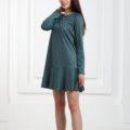 Платье замшевое короткое с воланами зеленого цвета