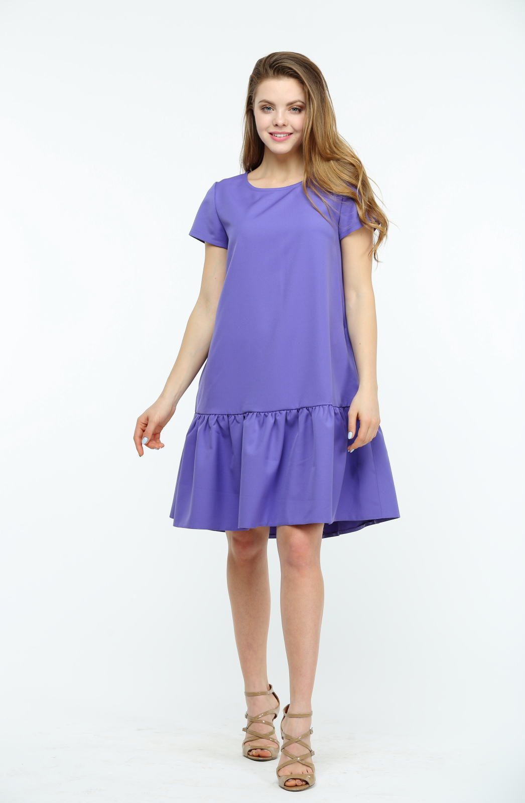 b2e2d2333c4 Фиолетовое платье с воланами и коротким рукавом купить в Киеве