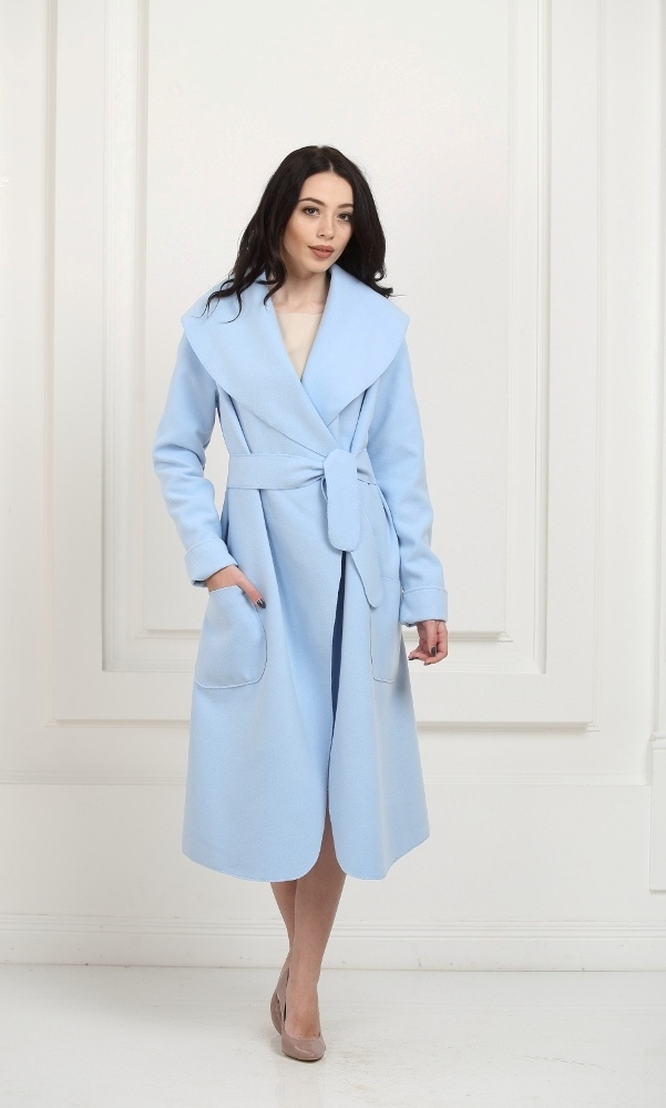 Кашемировое пальто макси небесно-голубого цвета