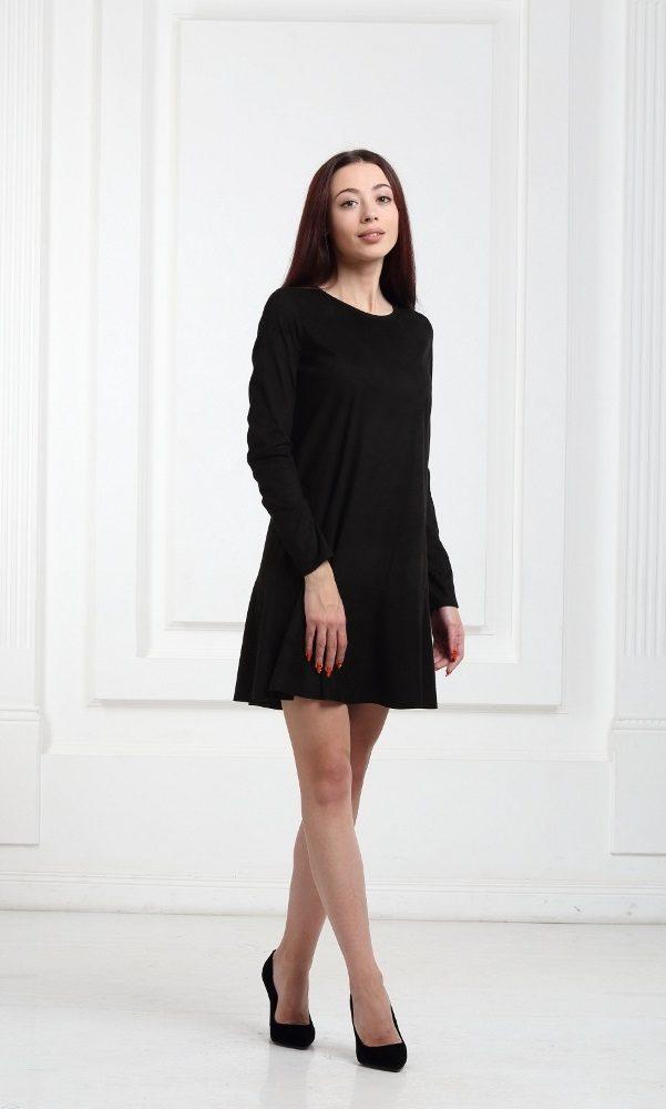 Платье замшевое короткое с воланами черное