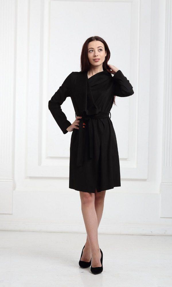 Платье-кардиган замшевое черного цвета