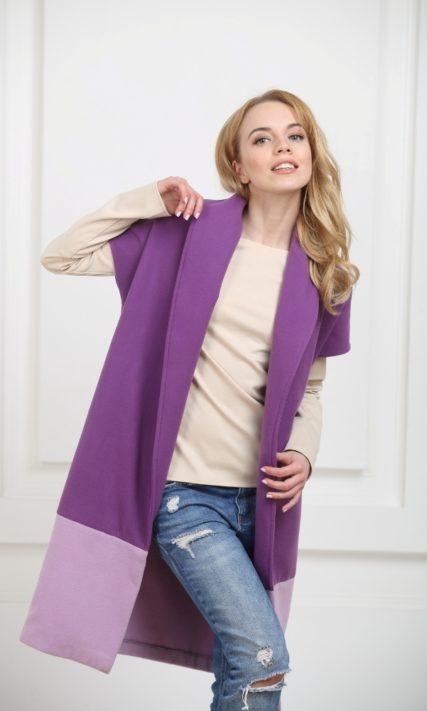 Жилет двухцветный фиолетовый с фиалковым