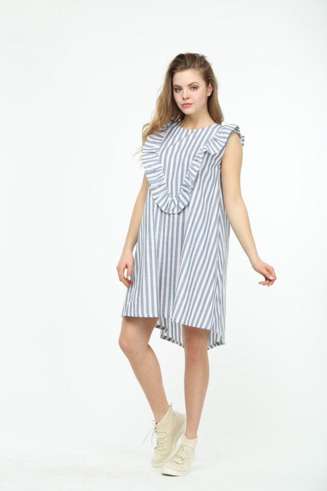 Платье в полоску с рюшами