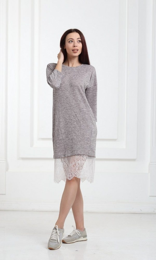 Платье бежевое с люрексом и кружевом купить в Киеве