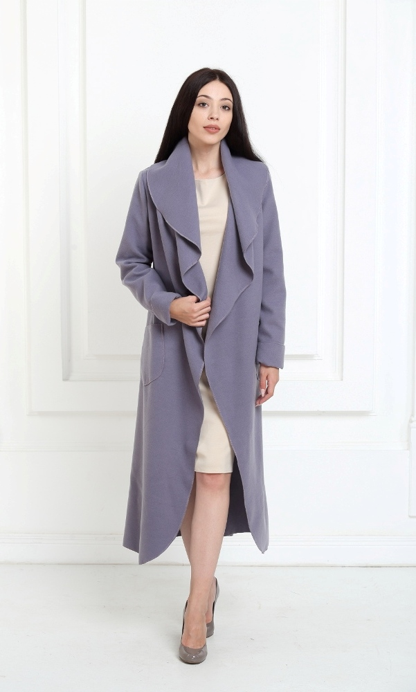 Кашемировое пальто макси аметистового цвета