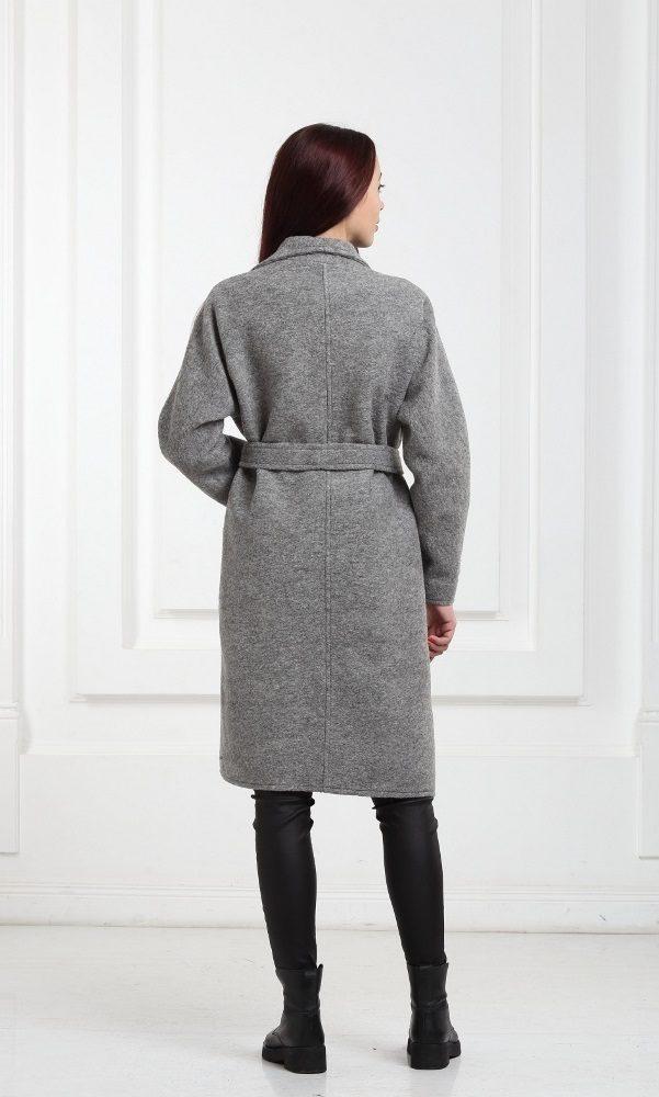 Шерстяное пальто серое