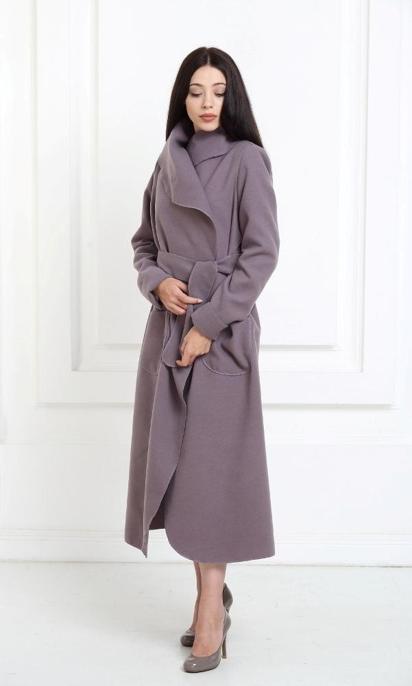 Кашемировое пальто макси лилово-серого цвета