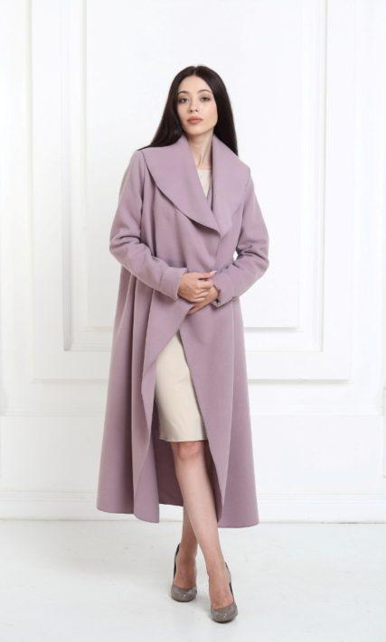 Кашемировое пальто макси сиреневого цвета