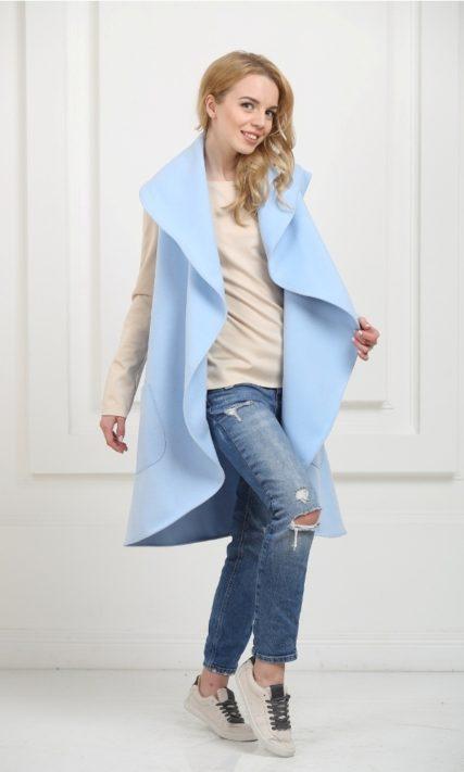 Кейп длинный небесно-голубой с карманами