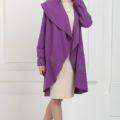 Кашемировое пальто фиолетовое с карманами