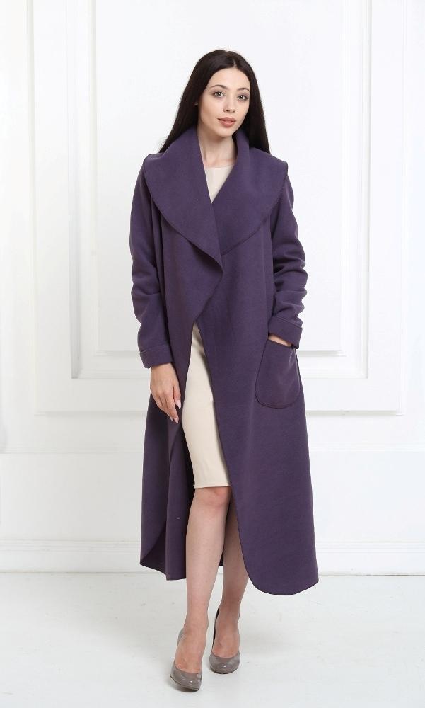 Кашемировое пальто макси цвета индиго
