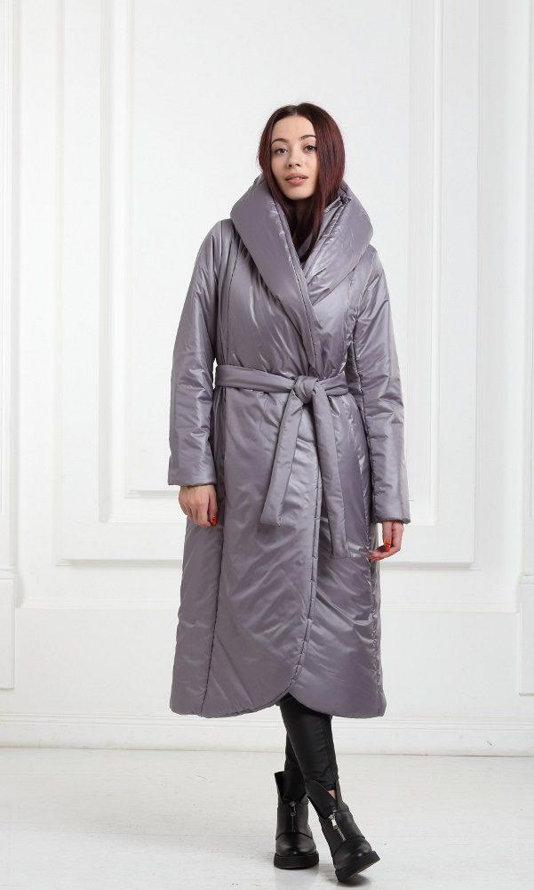 Зимнее дутое длинное пальто серое