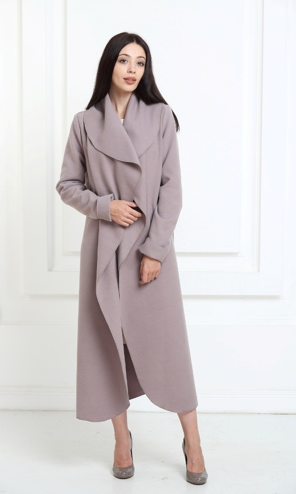 Кашемировое пальто макси цвета капучино