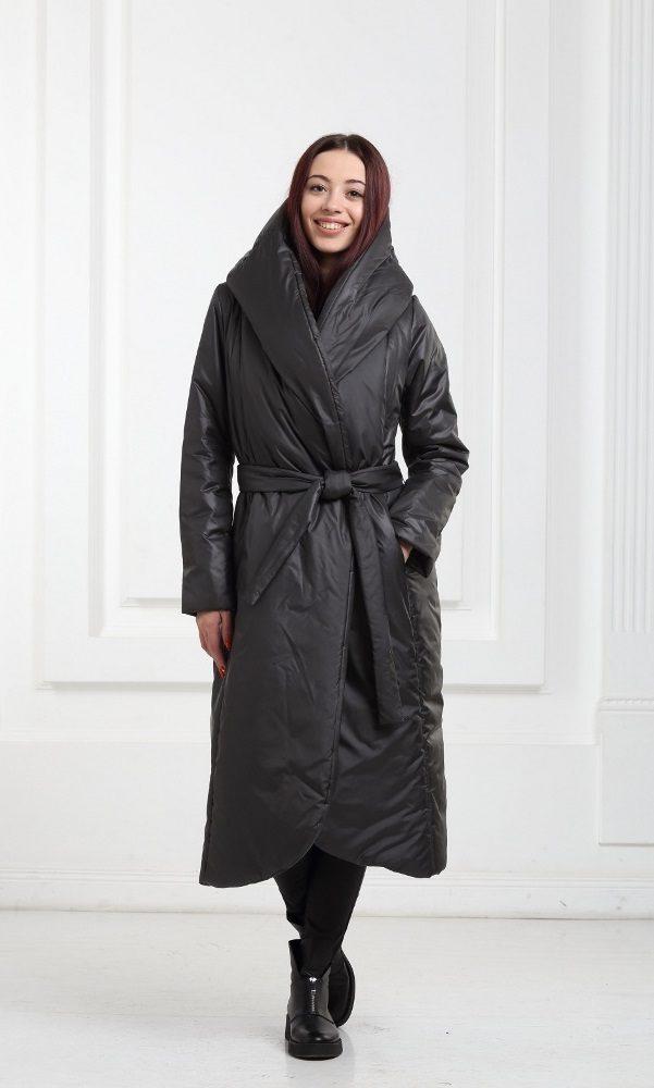 Зимнее дутое длинное пальто черное