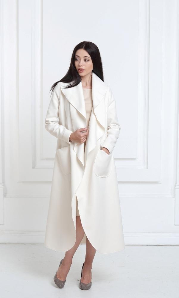 Кашемировое пальто макси молочного цвета