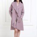 Кашемировое пальто сиреневого цвета с карманами