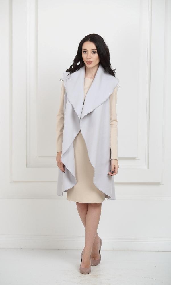 Кейп длинный серебристо-серый с карманами
