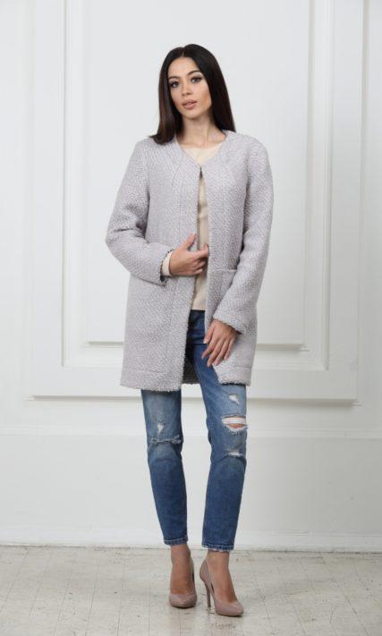 Облегченное пальто серое из буклированой шерсти