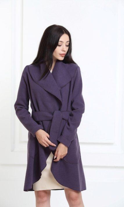 Кашемировое пальто цвета индиго с карманами