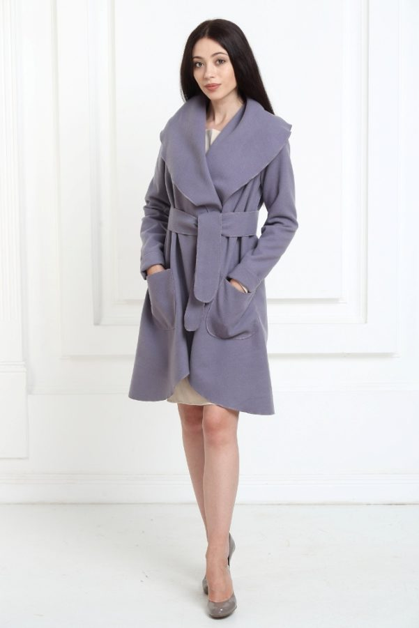 Кашемировое пальто аметистового цвета с карманами