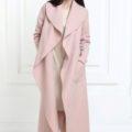 Кашемировое пальто макси цвета пудра