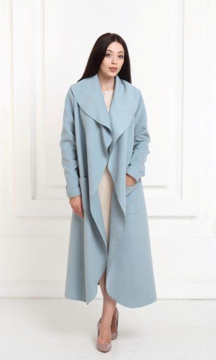 Кашемировое пальто макси серо-голубого цвета