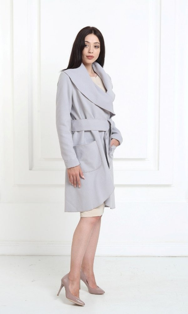 Кашемировое пальто серебристо-серого цвета с карманами