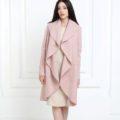 Кашемировое длинное пальто цвета пудры