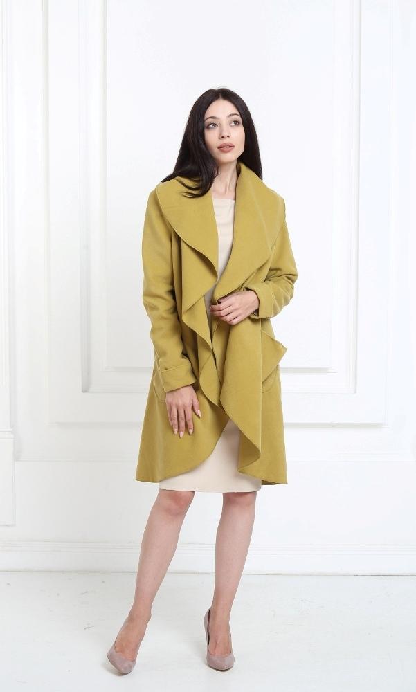 Кашемировое пальто цвета хаки с карманами