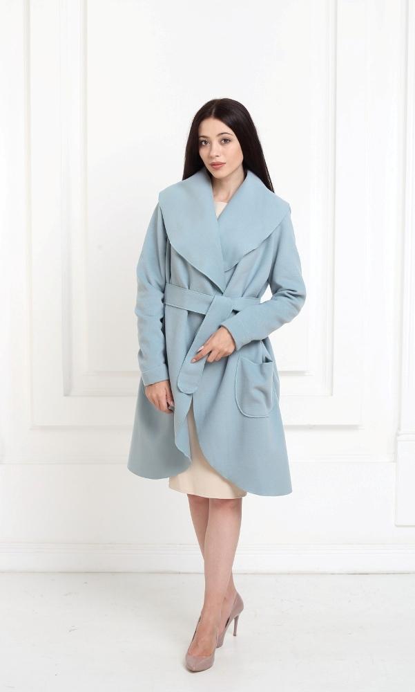 Кашемировое пальто серо-голубого цвета с карманами
