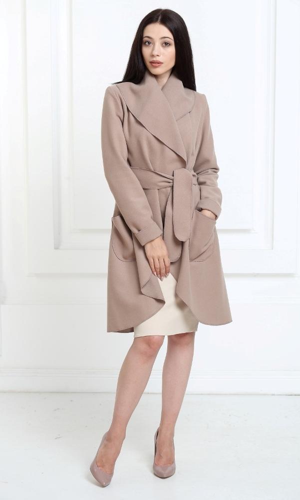 Кашемировое пальто темно-бежевого цвета с карманами