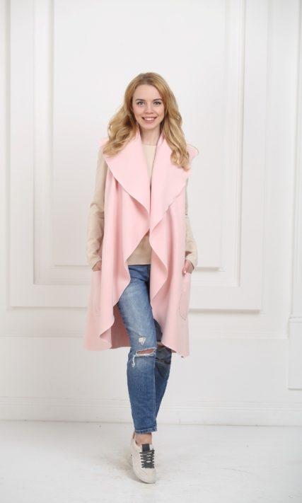 Кейп длинный светло-розовый с карманами