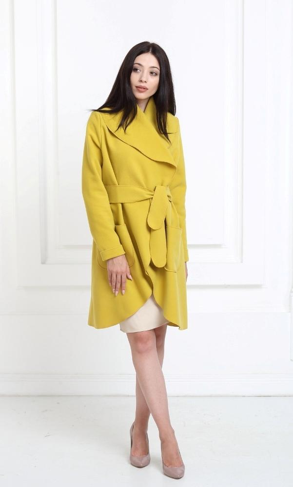 Кашемировое пальто горчичный (spicy mustard) с карманами