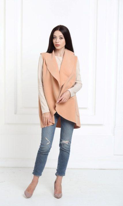 Кейп персиковый средней длины с карманами