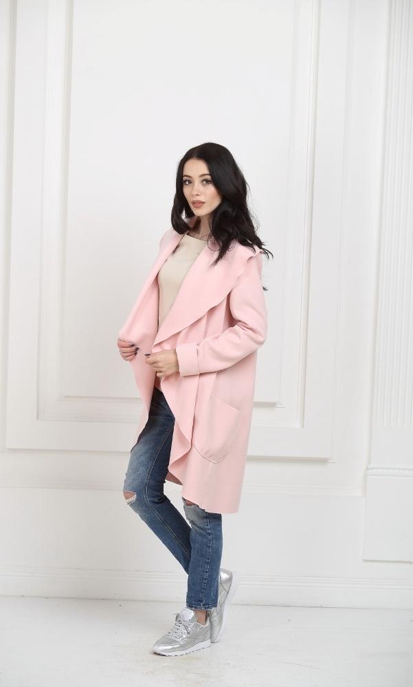 Кашемировое пальто с карманами светло-розовое