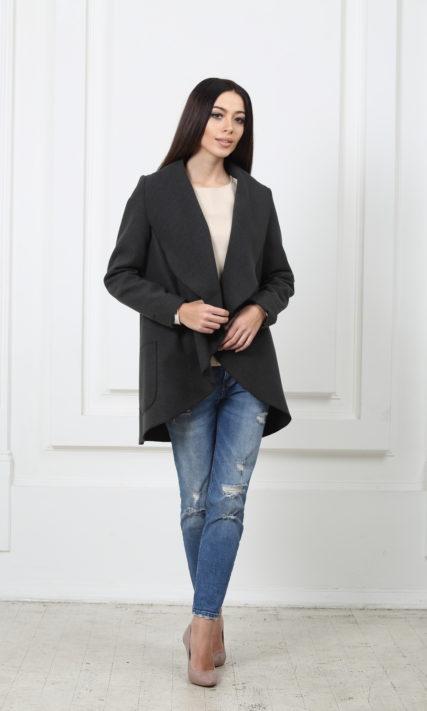 Жакет средней длины темно-серый с карманами