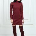 Платье трикотажное короткое цвета марсала