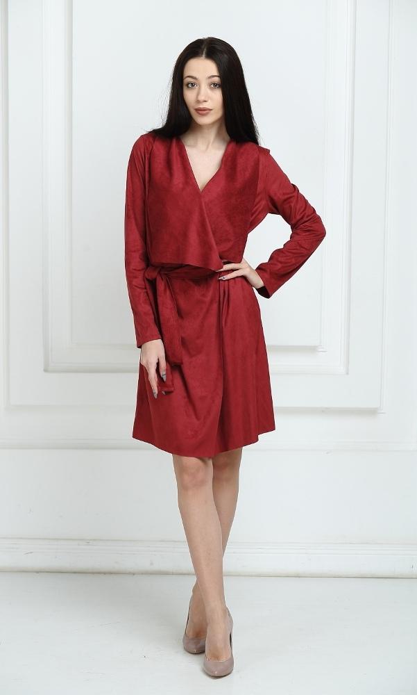 Платье замшевое с запахом цвета марсала