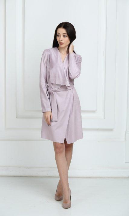 Платье замшевое с запахом сиреневого цвета