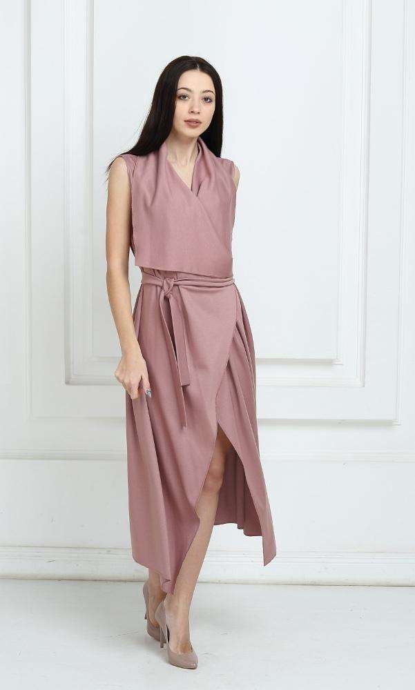 Платье длинное с запахом