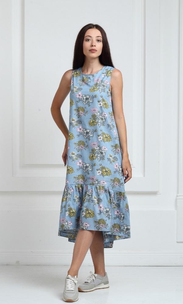 Джинсовое платье длинное с воланами