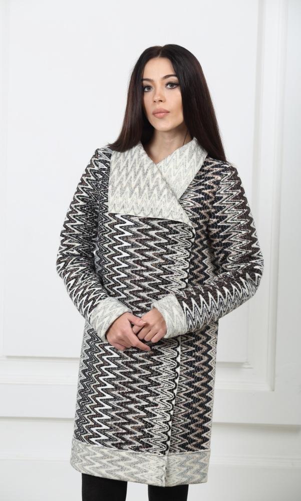 Шерстяное пальто Зигзаг без подкладки