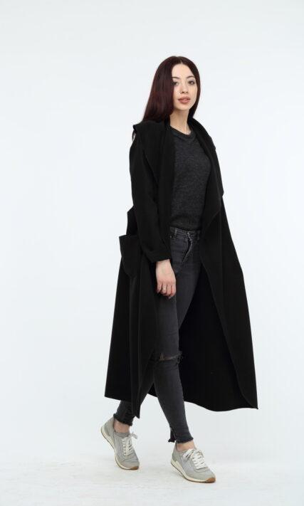 Черное пальто макси