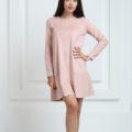 Платье замшевое короткое с воланами розового цвета