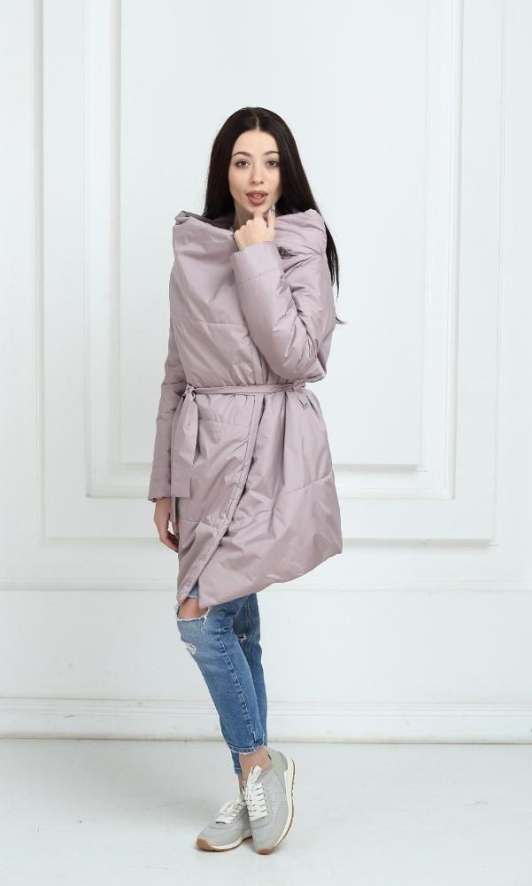 Пальто дутое лавандового цвета