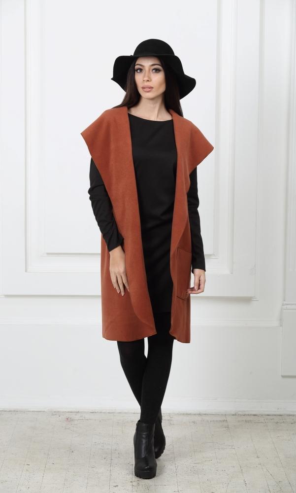Кейп длинный коричневый с карманами и капюшоном
