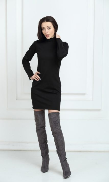 Платье трикотажное короткое чёрное