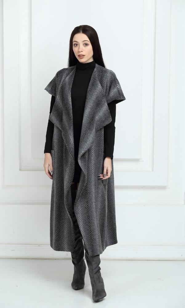 Кардиган длинный темно-серого цвета