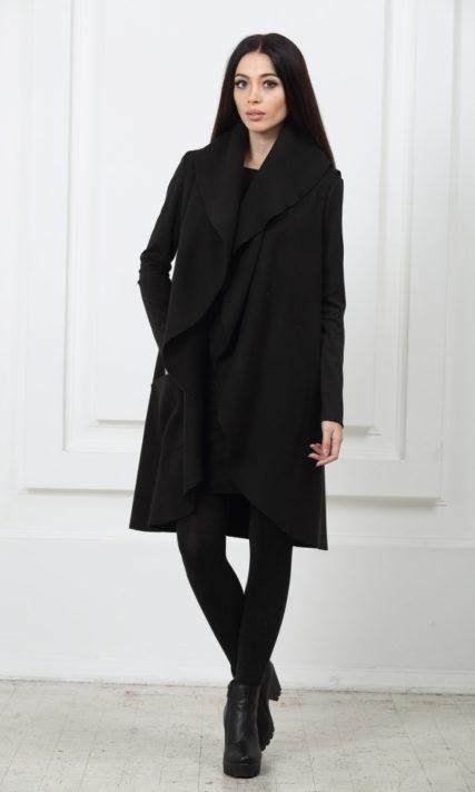 Кейп длинный с карманами черный