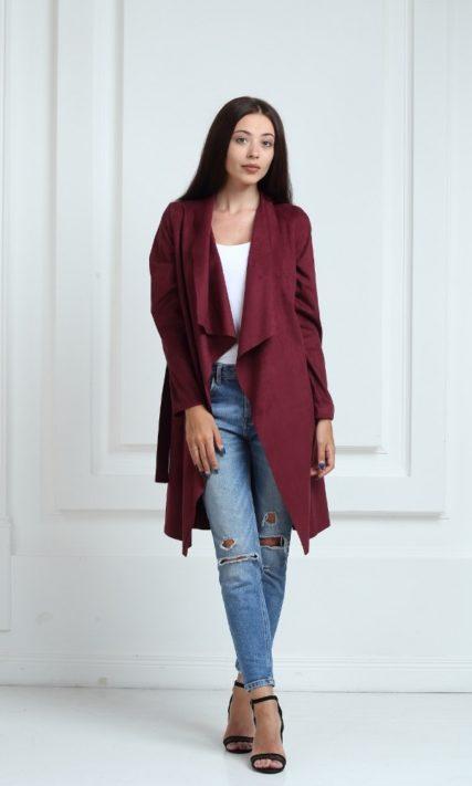 Платье-кардиган замшевое цвета марсала